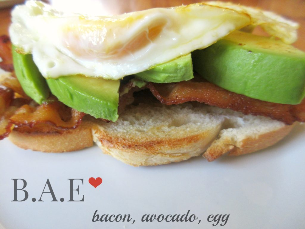 b.a.e, eggs, bacon, avocado, toast, breakfast